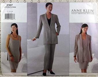 Vogue 2167, Misses' Jacket, Top, Skirt and Pants Sewing Pattern, Anne Klein Vogue Pattern, Misses' Size 12, 14, 16, Uncut