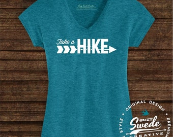 Take A Hike Ladies' Triblend V-Neck T-Shirt- adventure, camping, outdoors, woods, wanderlust, hiking, arrows, women's v-neck