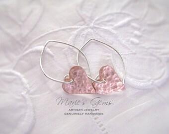 Heart Earrings, Silver Earrings, Hoop Earrings, Sterling Silver, Copper Jewelry, Dirty Hearts, Mixed Metal, Valentine Gift, Handmade Jewelry