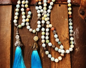 Amazonite Tassel Necklace, Frosted Amazonite Necklace, Gemstone Necklace Mala Necklace, Sweater Necklace Long Necklace, Summer Beach Jewelry