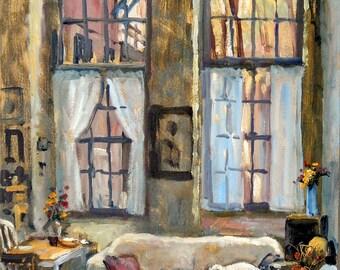 Studio Dog Autumn Light. Oil on Panel, 20x12 inch Realist Loft Interior Painting, Signed Original Industrial American Impressionist Fine Art