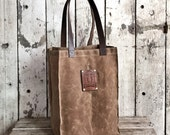Monogrammed Spice Growler Bag, Waxed Canvas Tote, Waxed Canvas Bag, Shoulder Bag, Market Tote, Waxed Canvas Carryall, Leather, For Him