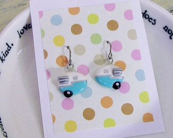 Vintage Inspired Teal Blue and White Shasta Camper Trailer Earrings with Wings
