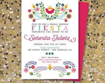 Fiesta Bridal Shower Invitation, Fiesta Party Printable | Julieta