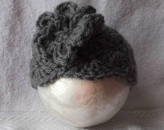 Beautiful...Hand Crocheted.... Solid Steel Gray....Adorable Gift.... Cap with Flower.....0 up to 3 month Girl.... PHOTOGRAPHERS