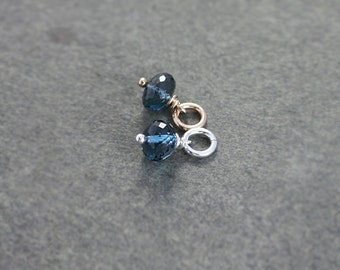 Small London Blue Topaz Charm, Sterling Silver or 14k Gold Filled December Birthstone Pendant - Add a Dangle