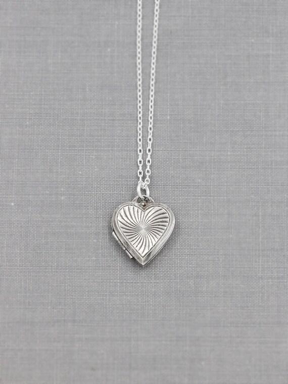 Silver Locket Necklace, Heart Shaped Dangle Sterling Photo Pendant - Pinwheel