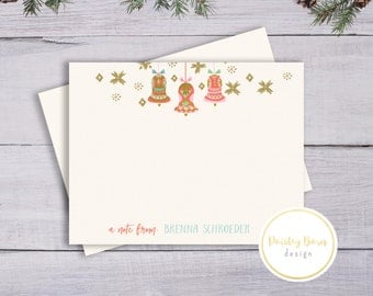 Vintage Christmas Ornament Notecards Personalized | Christmas Card, Thank you, Kitschy, Retro, Fun