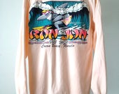 SURF SHARK ron jon peach skater surf shop crew neck LONG sleeve faded distressed t-shirt