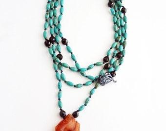 Boho Turquoise Necklace Orange Agate Pendant Boho Wrap Necklace Boho Necklace Turquoise Jewelry Black Glass Beaded Necklace Long Necklace