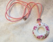 Pink Necklace, Pink Flower Necklace, Pink Cherry Blossom Necklace, Porcelain Donut Necklace, Pink Suede, Pink European Murano Glass Bead