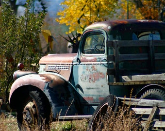 Rusty Old Delivery Chevrolet Pickup Truck Autumn colors Taos New Mexico photograph 8x10