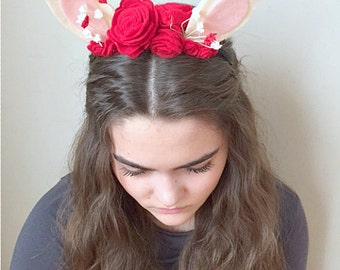 Red Roses & Bunny Ears Felt Headband