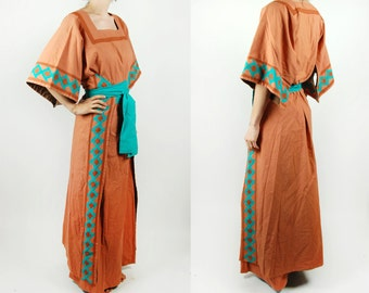 COOL! Southwestern Kimono-Style Quilted Wrap Dress || Burnt Sienna, Rust, Turquoise