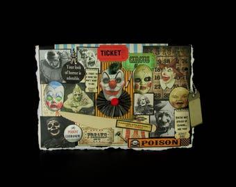 Clown Card, Scary Clown Card, Circus Clown Card, 102, Blank Clown Card, Creepy Clown Card, Vintage Clown Images, Creepy Decoration,  Blank