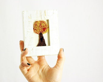 Autumn Tree of Love in a Mini Frame. Punchneedle Embroidery Fiber Art. Home Decor. Orange, Brown, Red. Hearts, Love. Woodland.