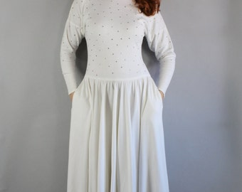 Batwing Dress, Vintage 80s does 50s Fit and Flare Women's White Glam Batwing Modern Full Skirt Midi Length Cotton Knit Long Sleeve Dress