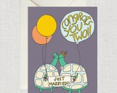 Congrats You Two! - Wedding Card, Love Card, Bridal Card, Marriage Card, Turtle Card, Congrats Card