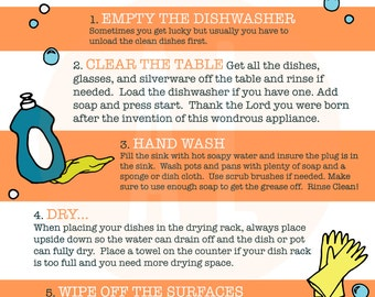 How To Do The Dishes Infographic, Cleaning Printable, kids printable