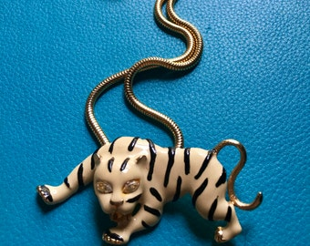 1970's Vintage Enameled Crouching White Tiger Necklace - Statement Piece - Large Tiger Necklace - Big Cat- Gold Snake Chain - Cat Necklace