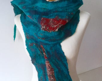 Nuno felted silk and wool scarf - nunofilz blue red turquoise - ooak Fibre Fiber Art to Wear