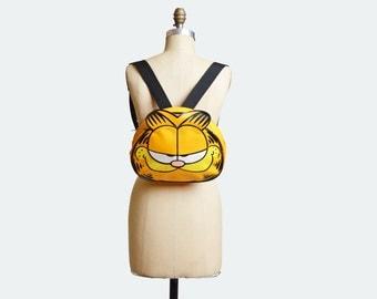 Vintage 90s Garfield Cat BACKPACK / 1990s Yellow Daypack School Bag PURSE