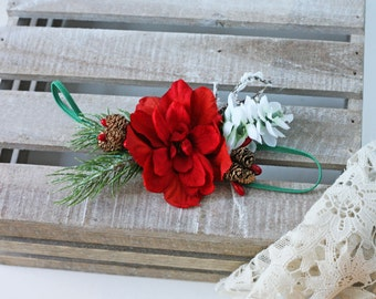 ready to ship pine berry pinecone red flower christmas poinsetta headband bow