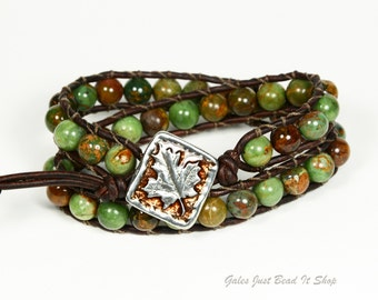Green Opal Beaded 2X Leather Wrap Bracelet, 8mm Green Opal Beads, Maple Leaf closure, distressed brown leather, earthy boho chic