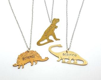SCIENCE Dinosaur Necklace   Stegosaurus - Brontosaurus - T-Rex Dinosaur Jewelry   Brass Necklace   Science Gift