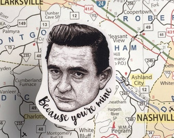 Johnny Cash Vinyl Laptop Sticker | Car Decal | Phone Sticker