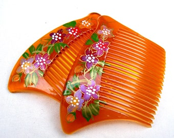 2 vintage mid-century hair combs hair painted Japanese comb hair accessory decorative comb hair ornament