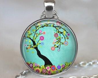 Flowering Tree necklace, Flowering Tree pendant tree jewelry spring jewelry Easter jewelry nature jewelry flower jewelry key chain key ring