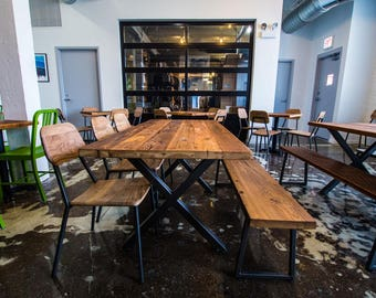 """Reclaimed Wood Dining Table with 1.65"""" wood top and steel base-choose style and finish."""