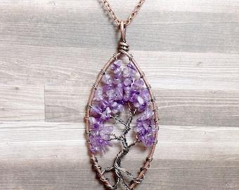 Amethyst Tree of Life Necklace - Amethyst Necklace - Gemstone Necklace - Amethyst Pendant - Copper Necklace - Purple Necklace