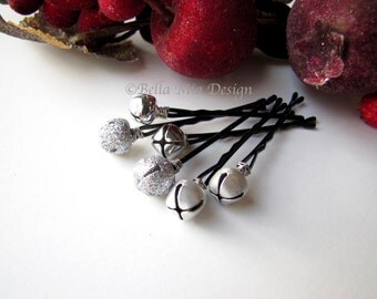 Silver Bells Hair Clips Bobby Pins