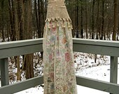 RESERVED FOR andreadiscipio - Antiqued beige tea stained floral boho gypsy hippie wedding dress formal dress, US size 2-4, 34 inch bust