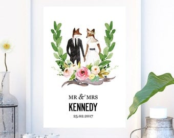 Illustrated Personalized Wedding Print - Foxes. Medium sized poster print A3