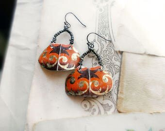 Rustic Primitive Tin Relic Earrings - Gothic Shields - Black & Orange Lightweight Earrings -  Vintage Tin, Antique Copper Glass Seed Beads