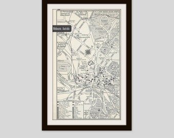 Melbourne Australia Map, City Map, Street Map, 1950s, Black and White, Retro Map Decor, City Street Grid, Historic Map