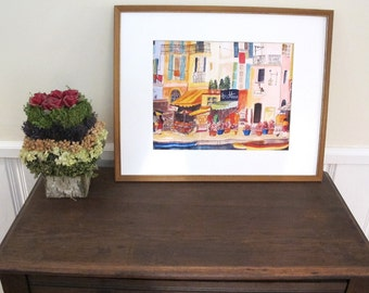 Large Print , Italian Scene, Venice Italy,  In a 16 x 20 in Mat Included, Ready to Be Framed