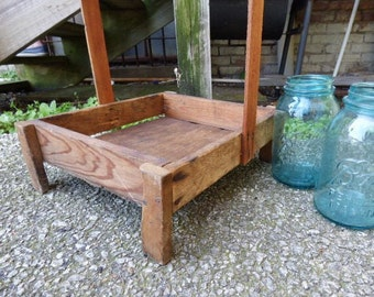 Vintage wood tray caddy footed tall handle box Farmhouse barn salvage table centerpiece display storage