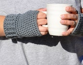 Grey Fingerless Gloves Unisex Wrist Warmers Texting Gloves Mens or Womens Fashion Accessories Custom Colors