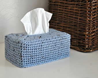 Modern Tissue Box Cover Nursery Decoration Rustic Blue Home Decor Kleenex Box Cover