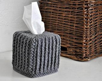 Square Tissue Box Cover Grey Home Decor Modern Kleenex Box Cover Custom Colors