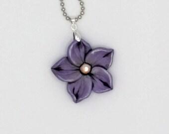 Violet Flower Necklace, 1.5 Inches Diameter; Purple Plumeria; Polymer Clay Pendant; Floral Necklace; Springtime Fashion; Style #: VIF02