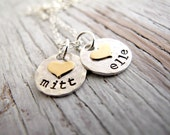 Kids Name Necklace, Hand Stamped, Sterling Silver, Hammered, Gold Hearts, Personalized, Christmas Gift, Mother's Necklace