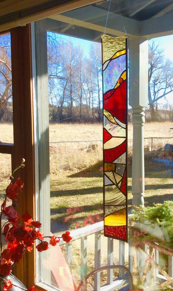 Sale stained glass window long and narrow with vivad red and for Long windows for sale