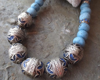 African Necklace, Blue Enamel Berber Beads, Morocco Beads, Statement Necklace, Pottery Beads, Turquoise  Moroccan Beads,