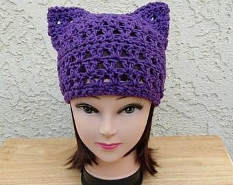 Dark Purple Pussy Cat Hat, Summer PussyHat, 100% Cotton Lightweight Crochet Knit Solid Purple Thin Spring Beanie, Ready to Ship in 2 Days