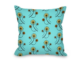 Mid century modern throw pillow cover, turquoise blue, dandelions floral print, mcm, all cotton pillow cover with hidden zipper